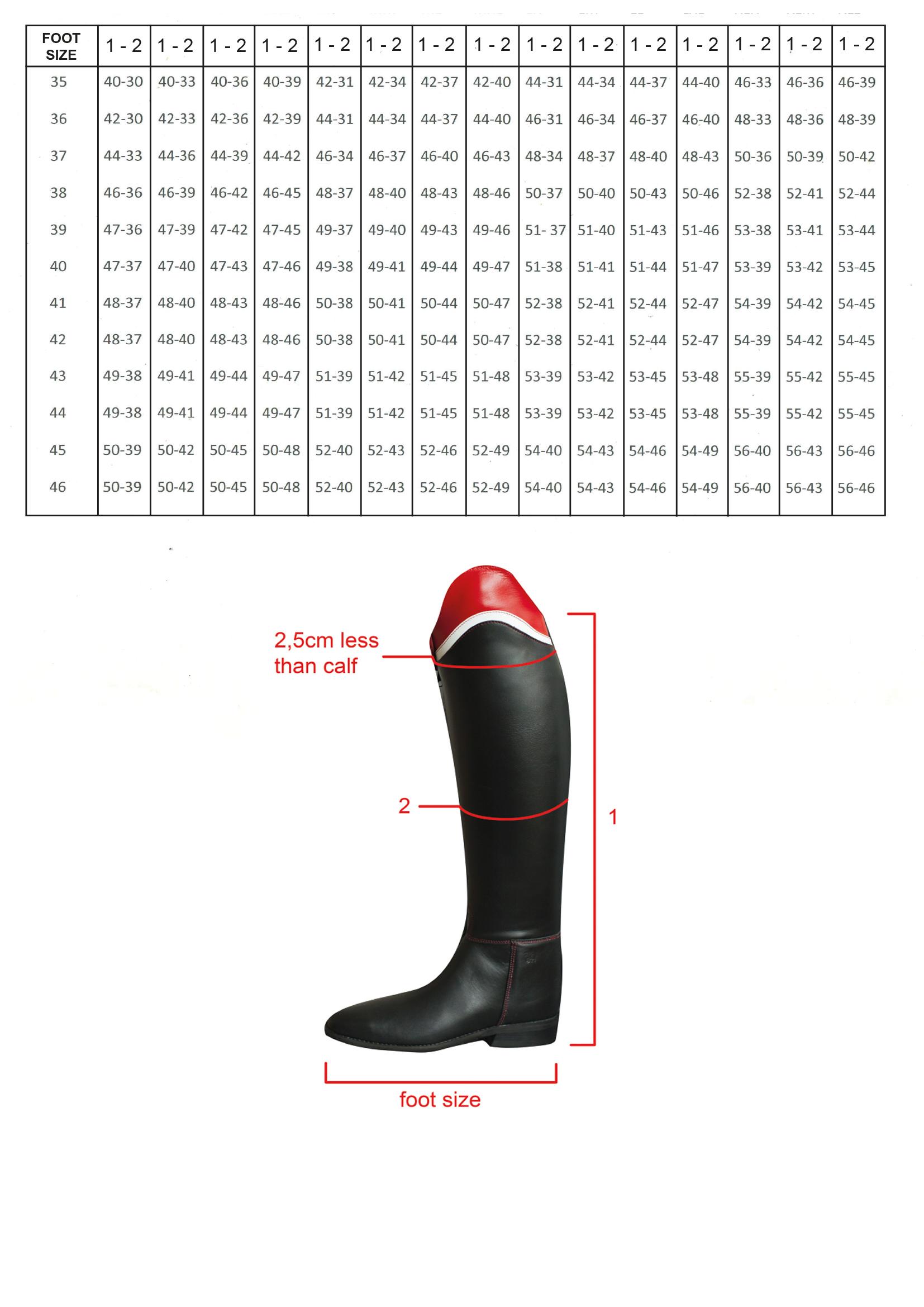 Size Chart Couture Hippique